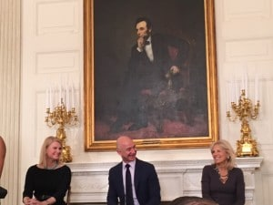 Kathleen Carroll and Jeff Bezos of Amazon with Dr. Jill Biden
